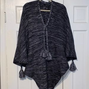 Black and gray fringed poncho